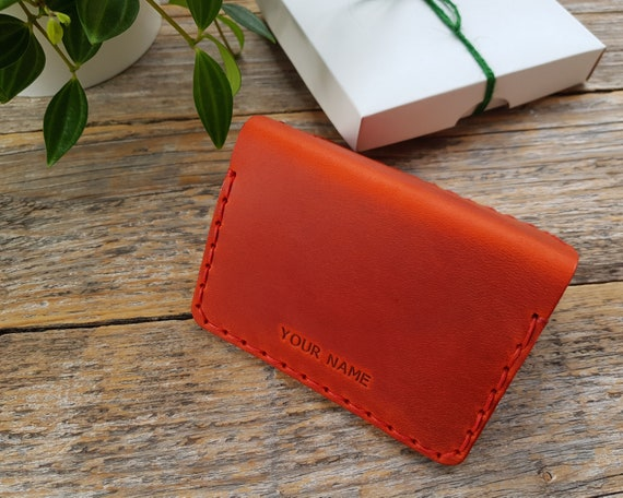 Leather Bi-fold Wallet, Credit Card Holder with Pockets for Cash or ID, Rustic Style Unisex Purse, FREE Personalization