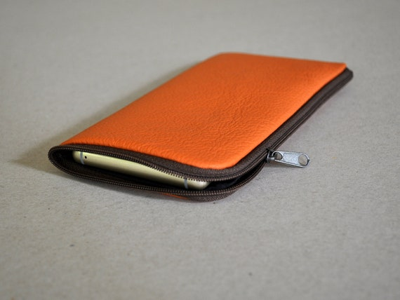 Orange Italian Leather Case for Fairphone 3 2. Organizer Purse with Zipper, Wallet Sleeve Pouch Cover
