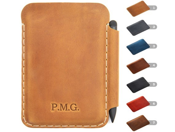 Bovine Leather Case for Microsoft Surface Duo / Duo 2 with PEN holder, Free Personalisation