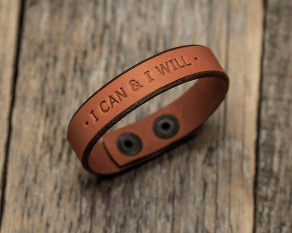 Italian orange leather personalized bracelet, vegetable tanned, engrave your custom phrase, initials, text or name