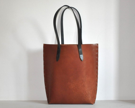 Rough style Unisex Leather Tote. Reddish Brown Bag with Black Straps.