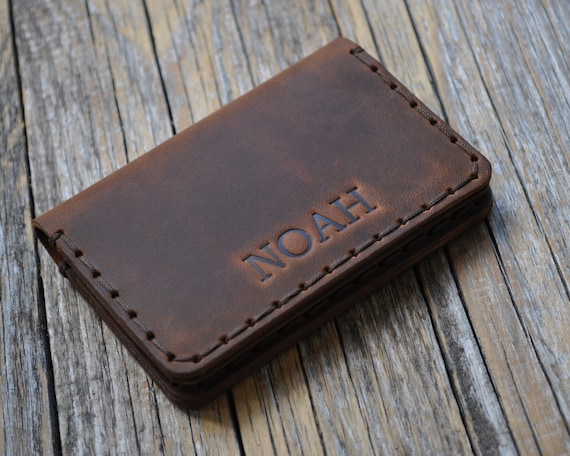 Professionally Hand Stitched Wallet. Dark Brown Leather Pouch. FREE Personalization. Rustic Style Credit Card Holder