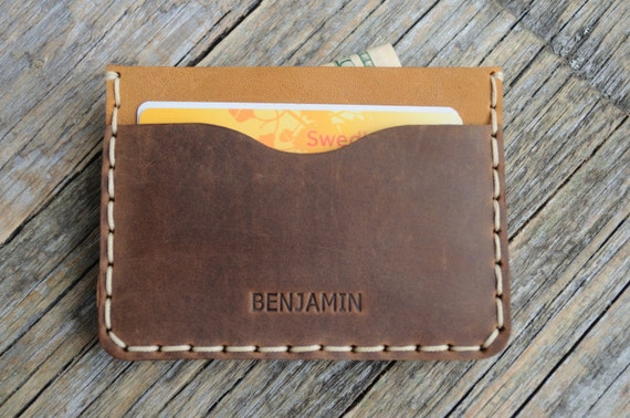 PERSONALIZED Brown Leather Wallet, Tan Detail Inside Cover, Credit Card Cash or ID Holder, Rugged Style Unisex Pouch