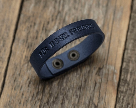 Italian blue leather personalized bracelet, vegetable tanned, engrave your text, phrase, initials or word, custom text and size