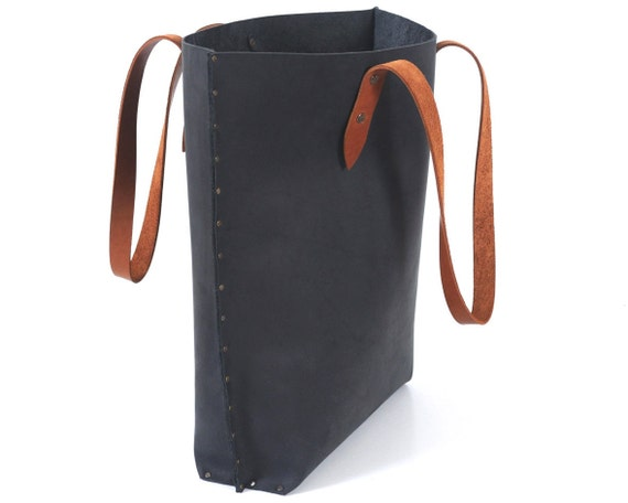 Leather Tote with Brown Straps. Urban Style with Riveted Seams.