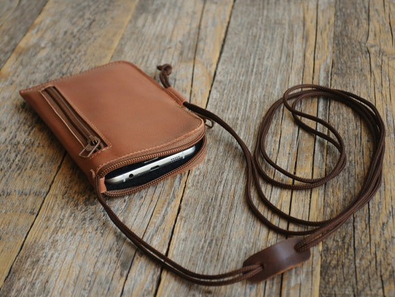 iPhone XS X 8 7 6 Case Bovine Leather Mini Bag. Wallet with Zippers and Pockets Purse with Neck Strap. Cover Sleeve Pouch 6 6s SE 5 5s