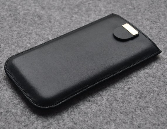 Black Italian Leather Case for iPhone 12 mini SE2 8 7 6, Cover with Pull Band,  Free Personalisation, Pouch Shell Sleeve