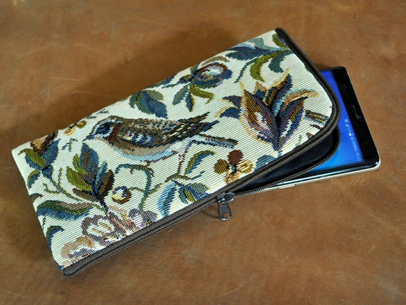 Purse with Zipper for iPhone, SE 2020 11 Pro Max XR XS X 8 7 Plus, Upholstery Fabric, Garden Birds Print, Cover Case Sleeve, Wallet Pouch