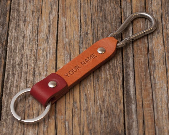 Orange and red leather key chain, stainless steel carbine hook, custom text, initials ring, monogrammed key chain, boyfriend fob holder