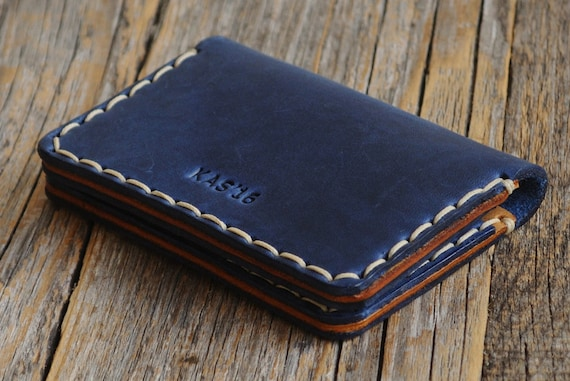 Blue Leather Wallet. Credit Card Holder. Pockets for Cash or ID. Rustic Style Unisex Pouch. FREE Personalization. Perfect Gift!