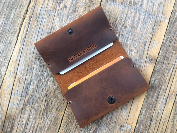 Riveted Wallet Brown  Leather Credit Card Holder with Pockets for Cash or ID Rustic Style Unisex Pouch. Monogram your name! Christmas Gift!