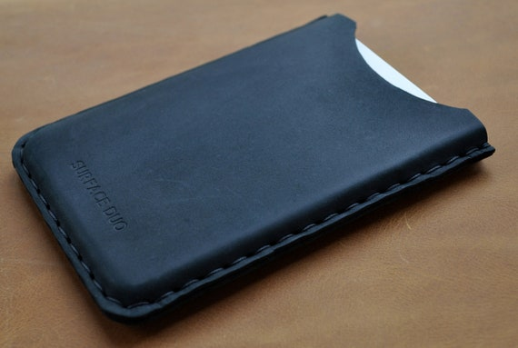 Bovine Leather Case for Microsoft Surface Duo, Professionally Hand Stitched