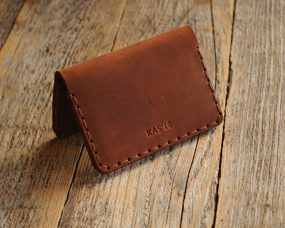 Rustic Style Unisex Pouch. Dark and Tan Brown Leather Wallet. Credit Card Holder. Pockets for Cash or ID. FREE Personalization