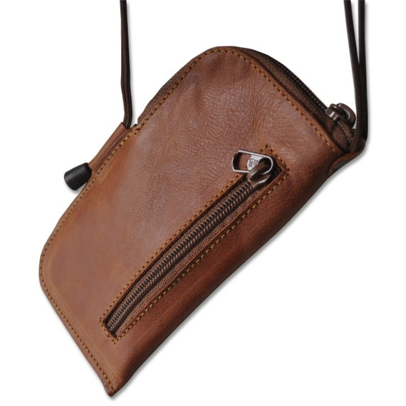 Case for iPhone  8 7 6 Leather Mini Messenger Bag. Organizer with Zippers and Pockets. Purse Cover with Neck Strap.