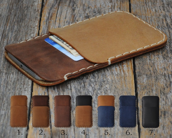 iPhone XS Max XR X 8 7 SE 6/6S Plus Cover Case Wallet Genuine Waxed Leather Sleeve Rough Style Pouch Shell Credit Card Holder Custom Sizes