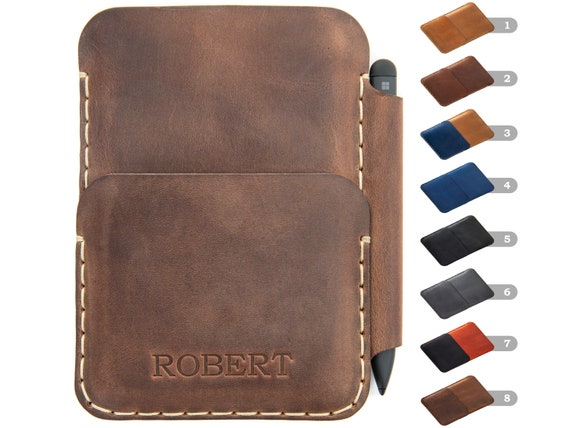 Leather Wallet Case for Microsoft Surface Duo / Duo 2, with PEN holder, Card Pocket