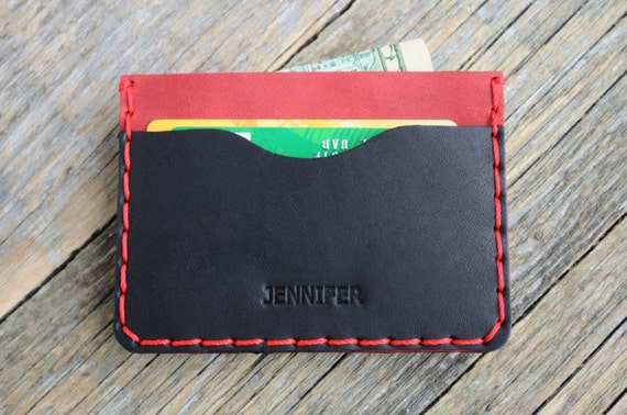 Red and Black Leather Wallet, PERSONALIZED Credit Card or Cash Holder, Professionally Hand Stitched Pouch