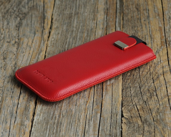 Red Italian Leather Case for Motorola, Moto Edge+ Moto G Stylus G8 Plus E6s Power, Cover with Magnetic Pull Band, Personalized Sleeve Pouch