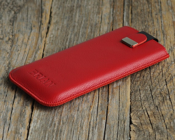 Red Italian Leather Cover Case for Fairphone 3. Brown Sleeve with Magnetic Pull Band. Slip Protective Pouch. Engraved Your Text or Name