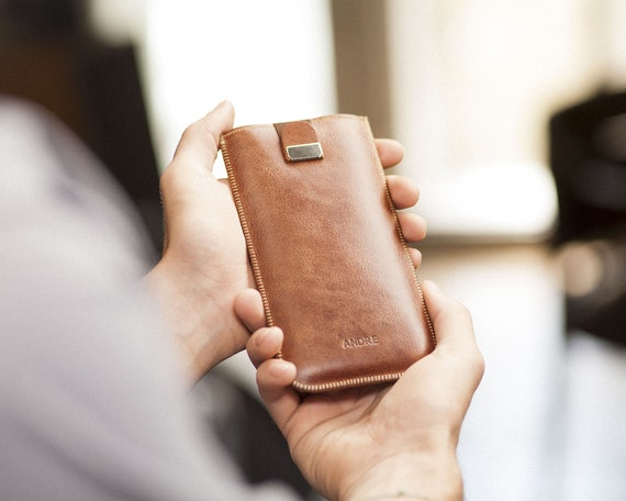 PERSONALIZED Case for iPhone XS Max Xr X 8 Plus 7 6 6s SE Cover with Magnetic Pull Band Brown Italian Leather Sleeve. Custom Text, Name etc.