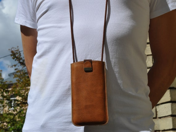 Brown Italian Leather Pouch For Xiaomi, Free Personalisation, Case Cover Adjustable Neck Strap