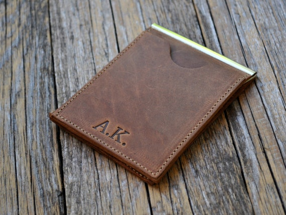 Thin wallet for minimalists, unisex brown leather bi-fold, credit card cash banknote holder, slim money clips, personalised