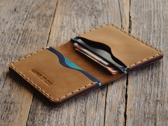 Brown and Blue Leather Wallet. Rustic Style, Unisex Pouch Kartenhülle. Credit Card Holder. Pockets for Cash or ID. FREE Personalisation