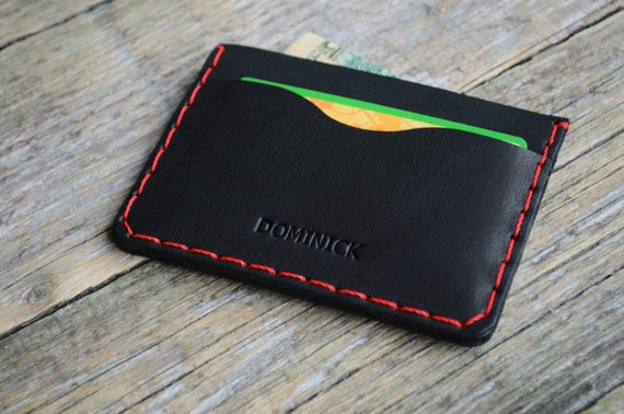 Black Leather Wallet with Red Stitching, Credit Card Cash and Banknote Holder, PERSONALIZED Rugged Style Pouch