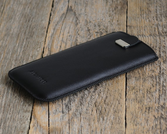 Leather Cover for OnePlus 6T, 6, 5T, 5. PERSONALIZED! Add Your Name. Black Handmade Pouch Case with Magnetic Pull Band