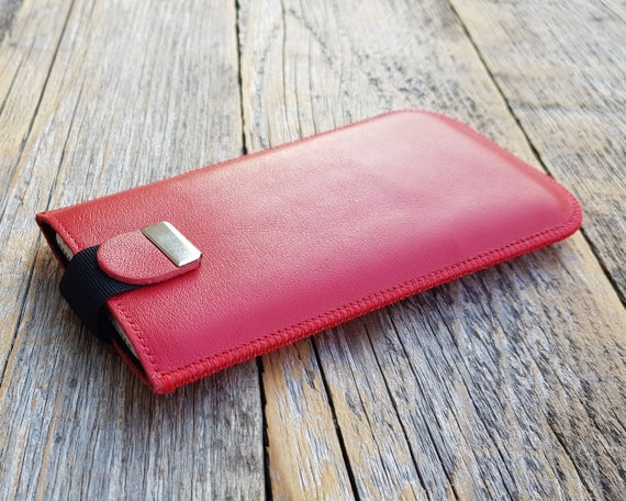 Red Italian Leather Case for Fairphone 3. Sleeve with Magnetic Pull Band. Slip Genuine Protective Pouch. Personalised