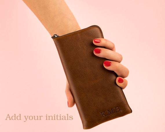 Brown Italian Leather Purse for Fairphone 3. Organizer Case with Zipper. FREE Personalised Wallet, Sleeve Pouch Cover