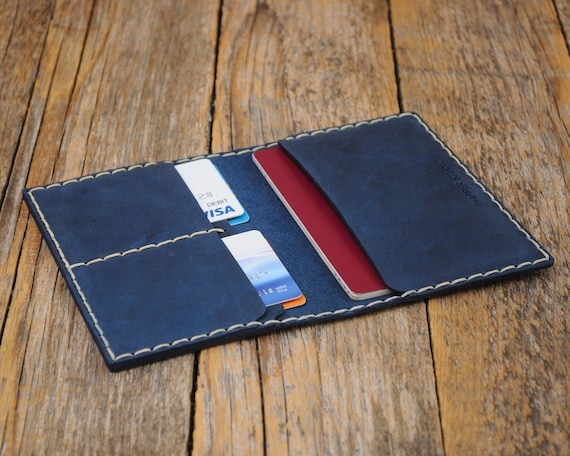Blue Genuine Leather Passport Cover, Cards Holder with Secure Wallet Cover Case Personalized Your Name, Travel Wallet