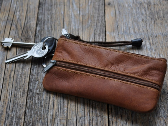 Brown Leather Keys Holder, Key Case, Zipper Pouch, Keychain Wallet