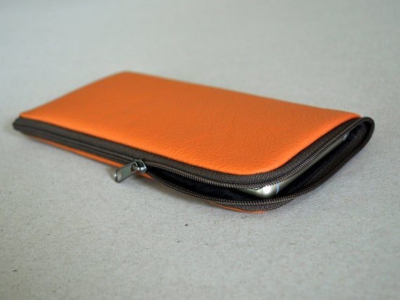 Sunset Orange Leather Cover for iPhone, SE 2020 11 Pro Max XS X XR 8 7 Plus, Case Sleeve, Wallet with Zipper, Sleeve Pouch Purse