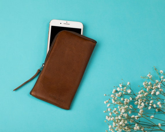 Italian Leather Pouch for iPhone 11 Pro Max XR X 8 Plus 7 6 SE Cover Case. Wallet with Zipper Brown Purse, Sleeve Pouch.