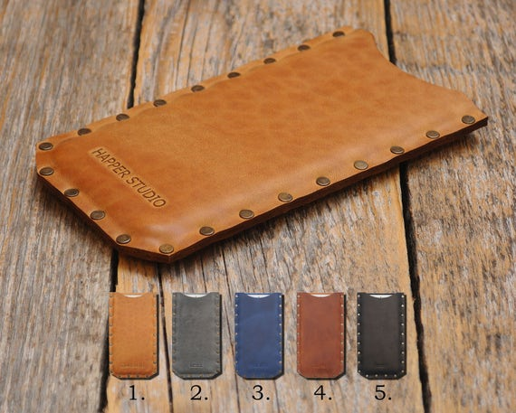 Genuine Leather Case For HP Elite x3 Rough Vintage Style Cover Pouch Shell Sleeve Riveted Custom Sizes Available