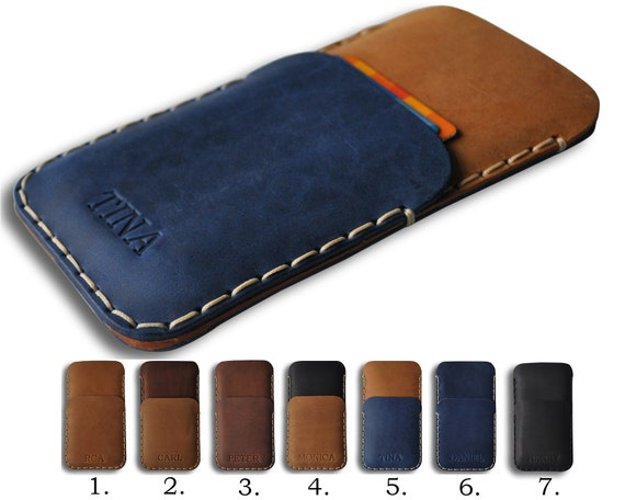 Leather Case for iPhone 11 Pro Max XR XS max X 8 7 Plus | ID Credit Card Holder Wallet, Attractive Personalized Gift Customize Text Initials