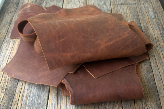 Dark Brown Crazy Horse Leather Pieces, 1,8 kg Bag Of Scrap. Calf Hide Leather Sheets for Arts and Crafts. 2,0 mm - 2.2mm thick.