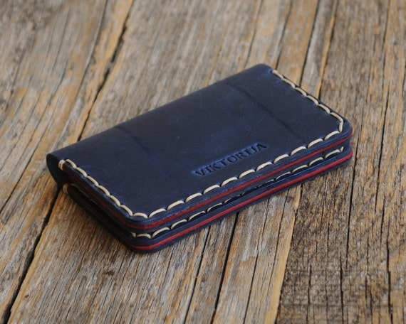 Blue and Red Leather Wallet. Credit Card Holder. Pockets for Cash or ID. Bi-Fold Unisex Purse. FREE Personalization
