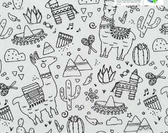 Llama coloring fabric 70x50 cm