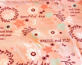 Fabric coupon 50 x 70 cm print romantic