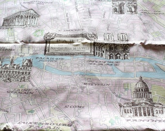 "Fabric upholstery 50 x 70 cm ""map of Paris"