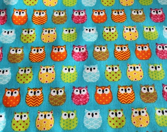 Fabric coupon 50 x 70 cm small blue and multicolored owls