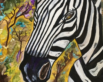 Zebra oil painting etsy original oil painting of a zebra animal painting zebra painting signed by artist canvas 16x 20 altavistaventures Image collections