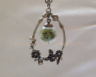 Terrarium Necklace, Ethereal, Ethereal Wedding, Woodland Necklace, Nature Lover, Flower Necklace, Butterfly Necklace, Moss Necklace