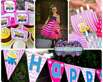 Girl's Pink Minion Fully Assembled Minion Birthday Party Set