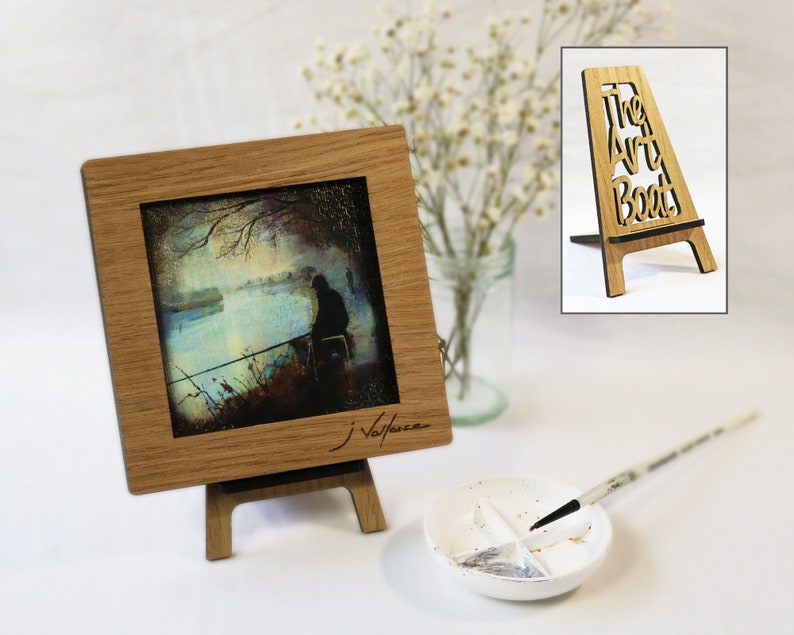 The Fishing Match. Oak framed mini print with easel. image 0