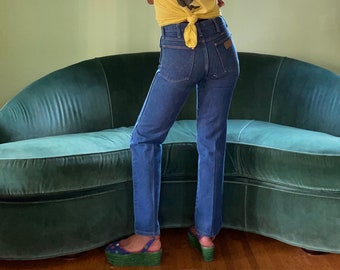 Vtg 70s 80s Dark Wash Denim Wrangler Blue Jeans High Waist Boot Cut 29 X 30