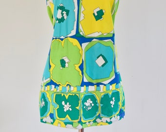 Vintage 60s 70s Sleeves Shell Top Green Yellow Blue Op Art Graphic Pattern Medium