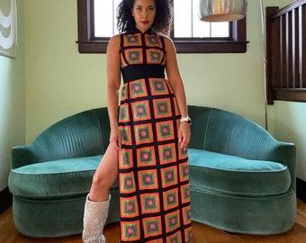 Vintage 60s Black Orange Day Glo Paisley Op Art Maxi Dress High Mandarin Collar Side Slit Small
